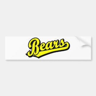 Logotipo de la escritura de los osos en amarillo pegatina para auto