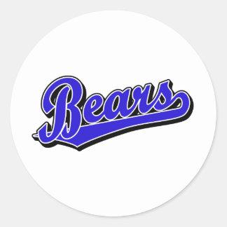 Logotipo de la escritura de los osos en azul pegatina redonda