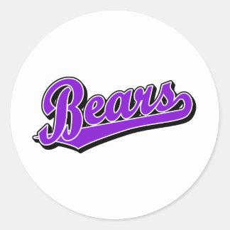 Logotipo de la escritura de los osos en púrpura pegatina redonda