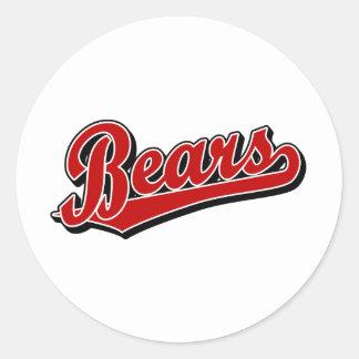 Logotipo de la escritura de los osos en rojo pegatina redonda