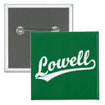 Logotipo de la escritura de Lowell en el blanco ap Pins