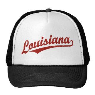 Logotipo de la escritura de Luisiana en el rojo ap Gorros