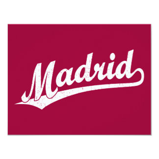 """Logotipo de la escritura de Madrid en el blanco Invitación 4.25"""" X 5.5"""""""