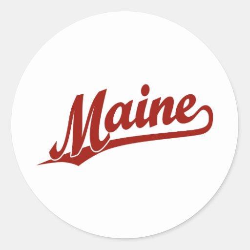 Logotipo de la escritura de Maine en rojo Pegatina Redonda