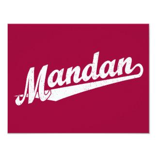 """Logotipo de la escritura de Mandan en el blanco Invitación 4.25"""" X 5.5"""""""