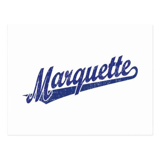 Logotipo de la escritura de Marquette en el azul a Postal