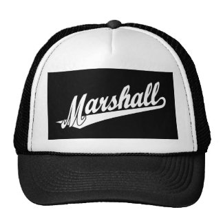 Logotipo de la escritura de Marshall en blanco Gorras De Camionero