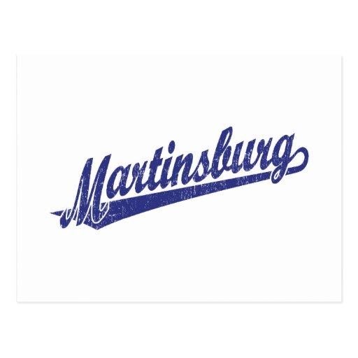 Logotipo de la escritura de Martinsburg en el azul Tarjetas Postales