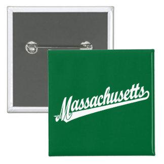 Logotipo de la escritura de Massachusetts en blanc Pin Cuadrada 5 Cm