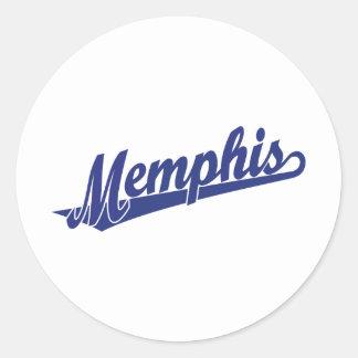 Logotipo de la escritura de Memphis en azul Pegatina Redonda
