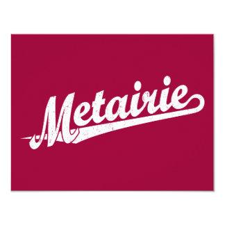 """Logotipo de la escritura de Metairie en el blanco Invitación 4.25"""" X 5.5"""""""
