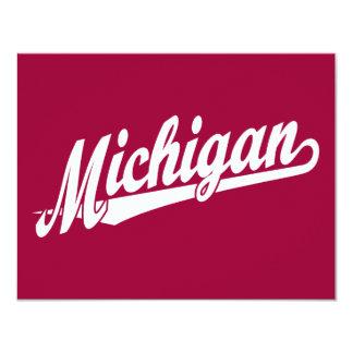 Logotipo de la escritura de Michigan en blanco Invitación 10,8 X 13,9 Cm
