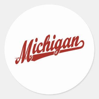 Logotipo de la escritura de Michigan en rojo Etiquetas Redondas