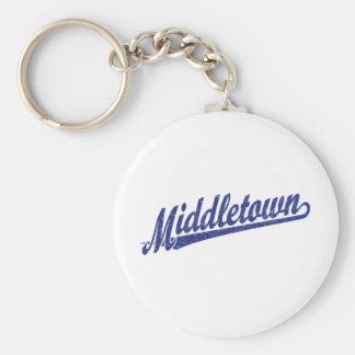 Logotipo de la escritura de Middletown en el azul Llaveros