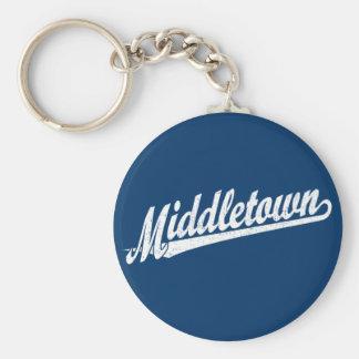 Logotipo de la escritura de Middletown en el blanc Llaveros Personalizados
