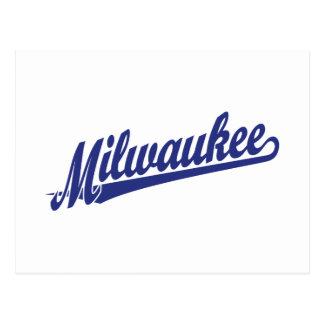 Logotipo de la escritura de Milwaukee en azul Tarjetas Postales
