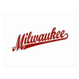 Logotipo de la escritura de Milwaukee en el rojo a Tarjeta Postal