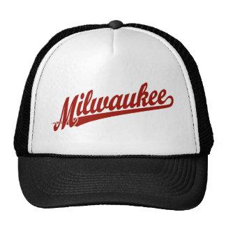 Logotipo de la escritura de Milwaukee en rojo Gorro