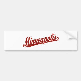 Logotipo de la escritura de Minneapolis en rojo Etiqueta De Parachoque