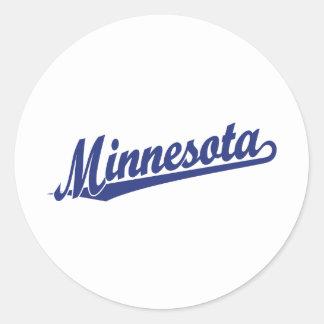 Logotipo de la escritura de Minnesota en azul Pegatina Redonda