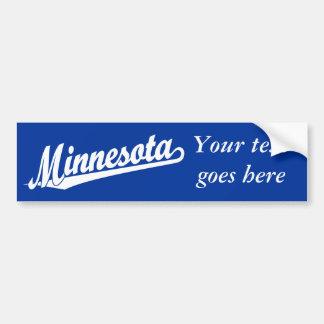 Logotipo de la escritura de Minnesota en blanco Pegatina Para Auto