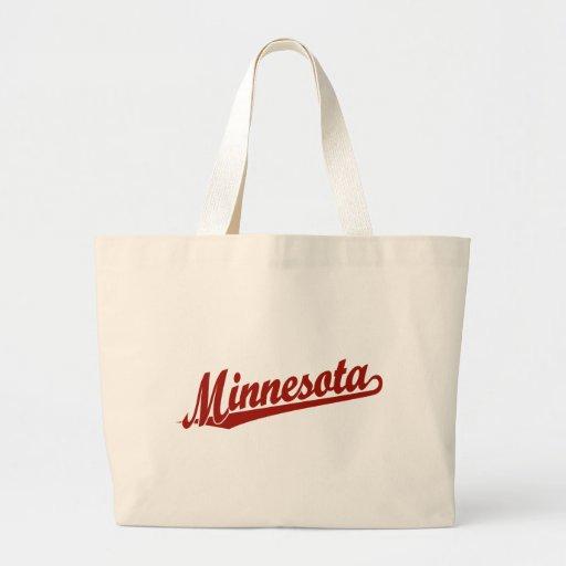 Logotipo de la escritura de Minnesota en rojo Bolsa