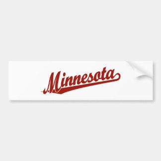 Logotipo de la escritura de Minnesota en rojo Pegatina Para Auto