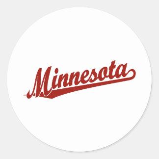 Logotipo de la escritura de Minnesota en rojo Pegatina Redonda
