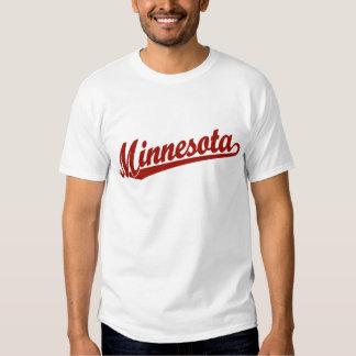 Logotipo de la escritura de Minnesota en rojo Playera