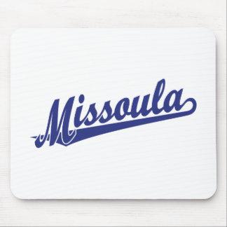 Logotipo de la escritura de Missoula en azul Mousepad