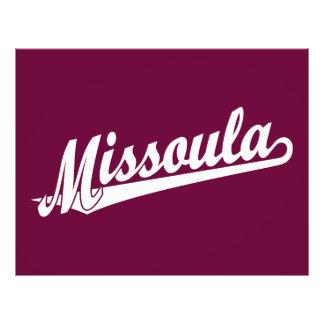 "Logotipo de la escritura de Missoula en blanco Folleto 8.5"" X 11"""