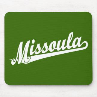 Logotipo de la escritura de Missoula en blanco Mousepad