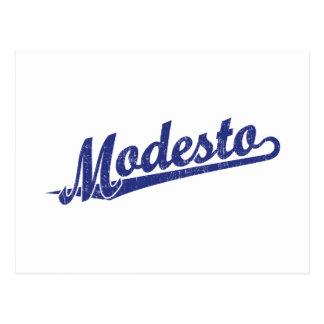 Logotipo de la escritura de Modesto en el azul ape Postal