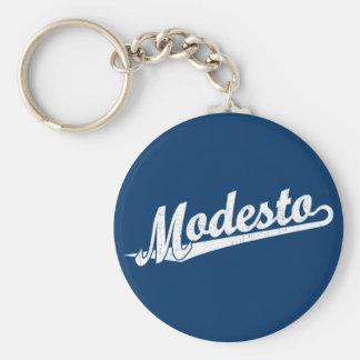 Logotipo de la escritura de Modesto en el blanco a Llavero Redondo Tipo Pin