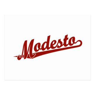 Logotipo de la escritura de Modesto en rojo Tarjeta Postal
