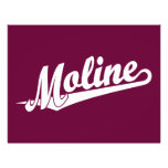 Logotipo de la escritura de Moline en blanco Tarjetones
