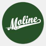 Logotipo de la escritura de Moline en blanco Pegatina