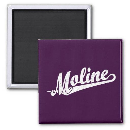 Logotipo de la escritura de Moline en el blanco ap Imán Cuadrado