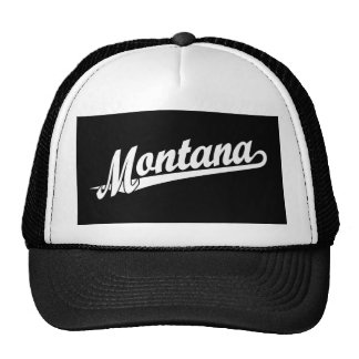 Logotipo de la escritura de Montana en blanco Gorras