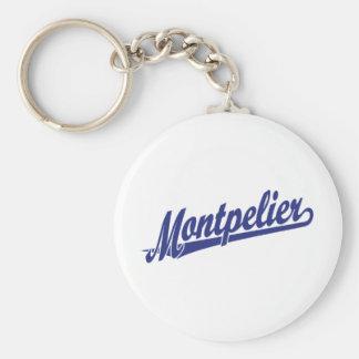 Logotipo de la escritura de Montpelier en azul Llavero Redondo Tipo Pin