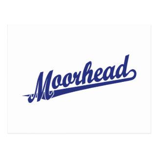 Logotipo de la escritura de Moorhead en azul Postal
