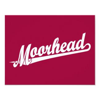 """Logotipo de la escritura de Moorhead en blanco Invitación 4.25"""" X 5.5"""""""