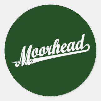 Logotipo de la escritura de Moorhead en blanco Pegatina Redonda