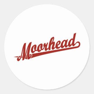 Logotipo de la escritura de Moorhead en rojo Pegatina Redonda