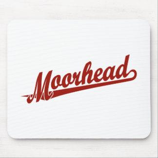 Logotipo de la escritura de Moorhead en rojo Mousepad