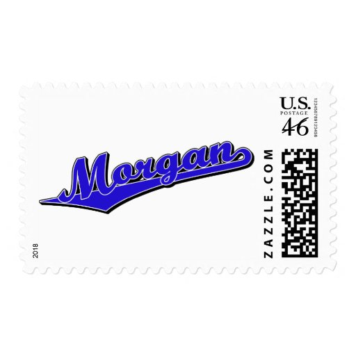Logotipo de la escritura de Morgan en azul Sello