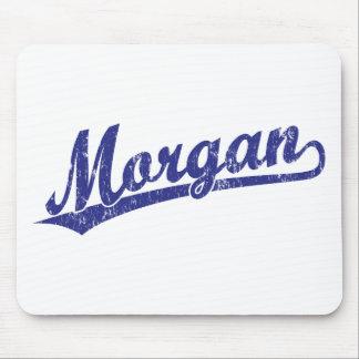 Logotipo de la escritura de Morgan en azul Tapete De Ratones