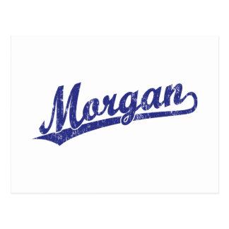 Logotipo de la escritura de Morgan en azul Tarjetas Postales