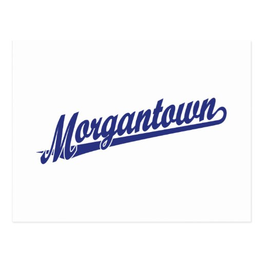 Logotipo de la escritura de Morgantown en azul Postal
