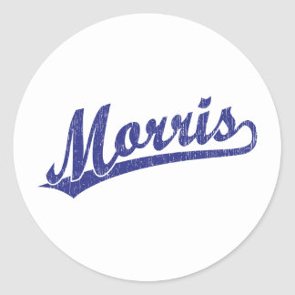 Logotipo de la escritura de Morris en azul Etiqueta Redonda